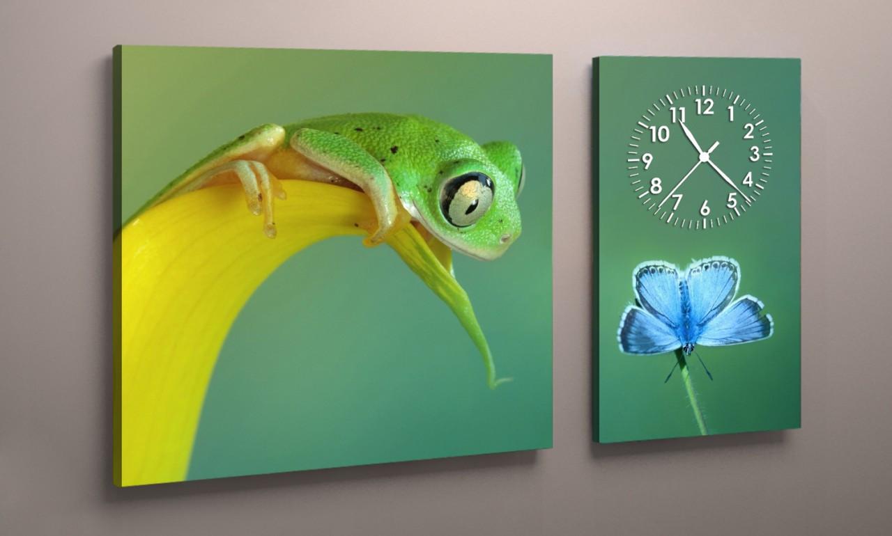 Картина с часовым механизмом Лягушка 100х60