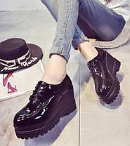 Шикарные демисезонные лакированные ботинки на высокой подошве Ботильоны, фото 3