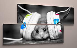 Фотокартина детская музыка черно-белая холст 90х60