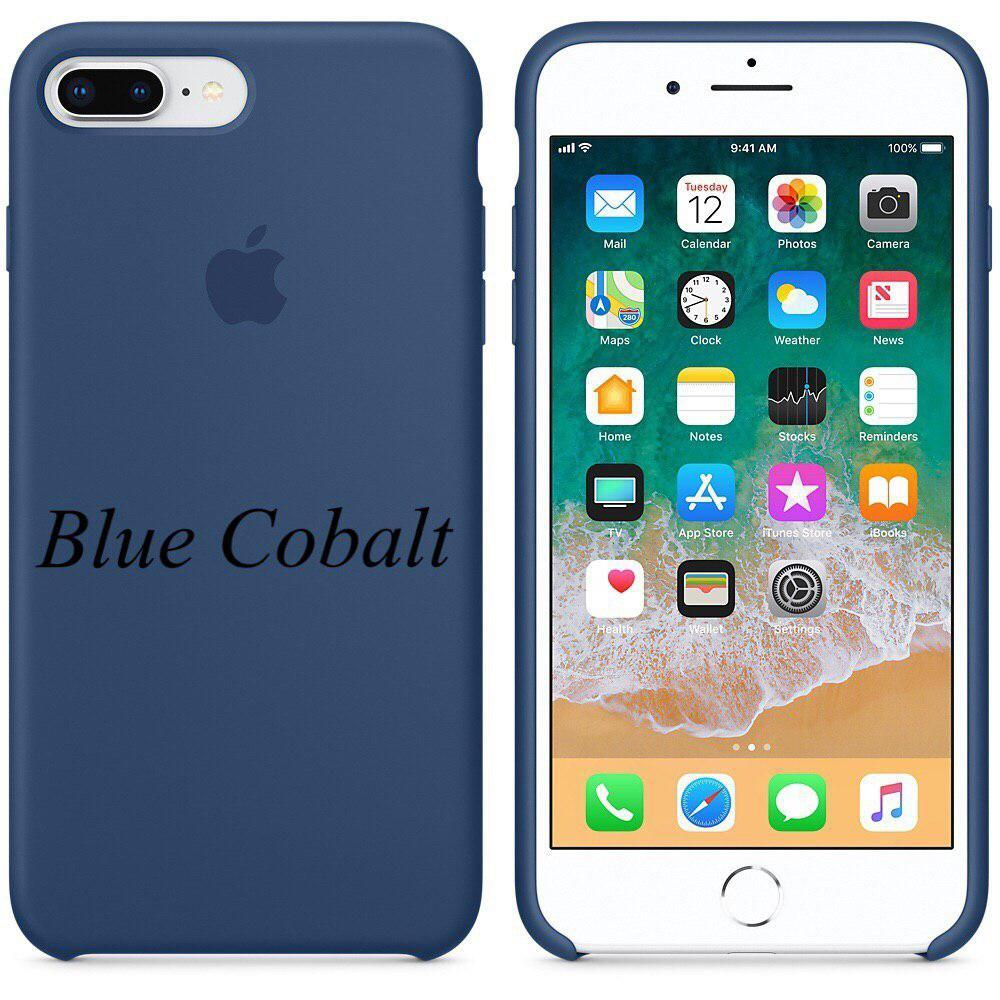 "Apple silicon case 7 Plus  "" Blue Cobalt """