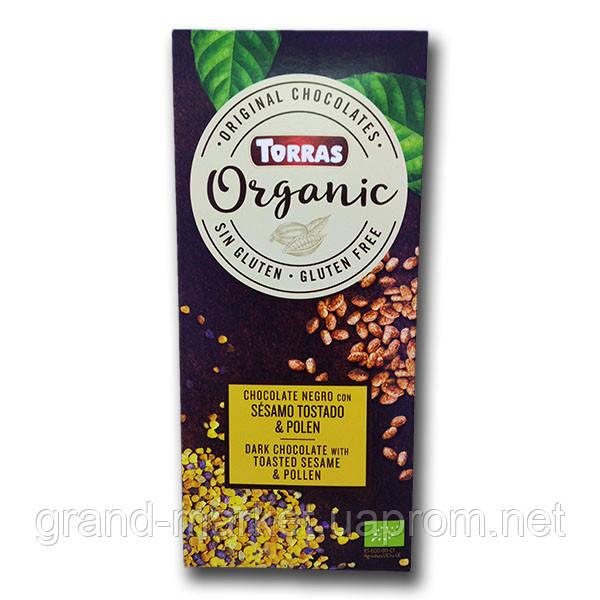 """Шоколад черный с кунжутом и пыльцой  """" Torras Organic """" 100 g"""