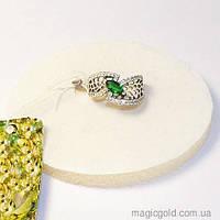 Серебряное кольцо с зеленым фианитом