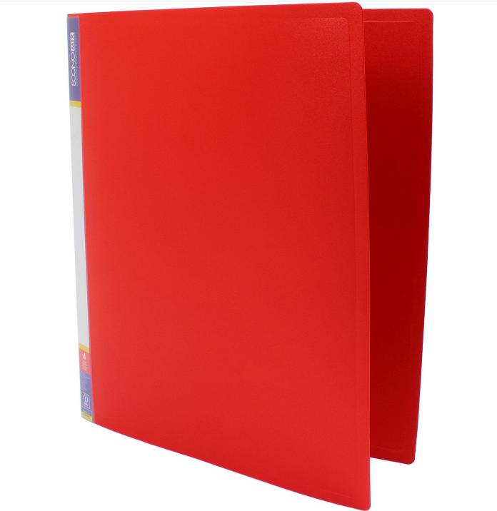 Папка пластиковая А4 Economix 2 кольца, красная