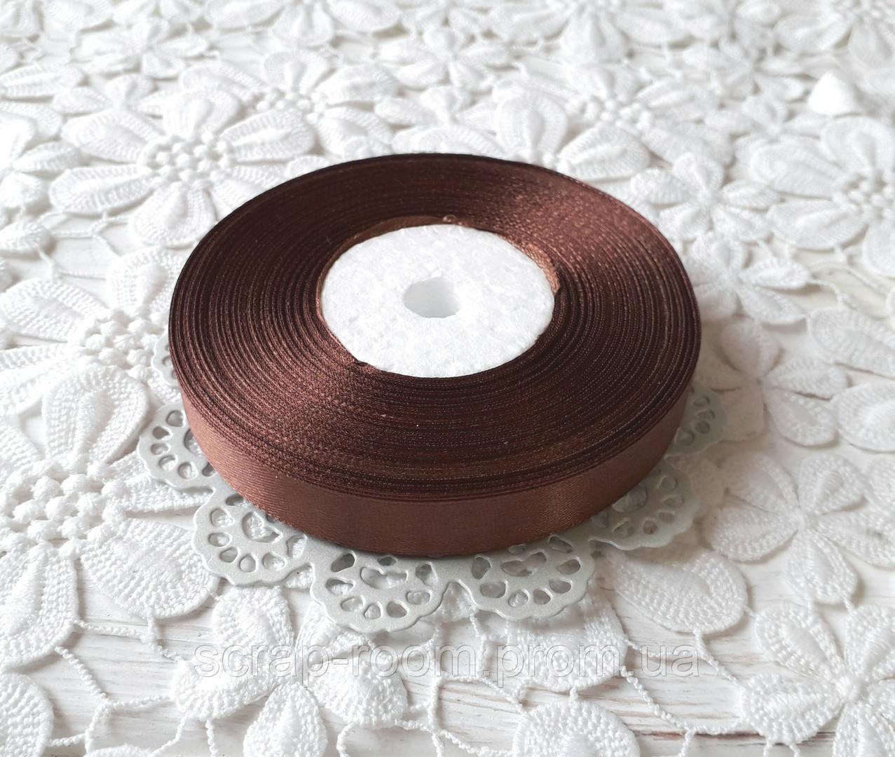 Лента атласная 1,2 см шоколадная, лента шоколадный атлас, лента атласная шоколадная, цена за метр