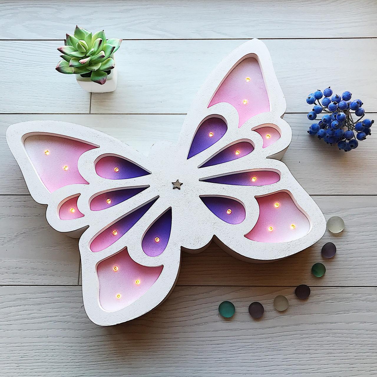 Светодиодный детский ночник из дерева «Бабочка»