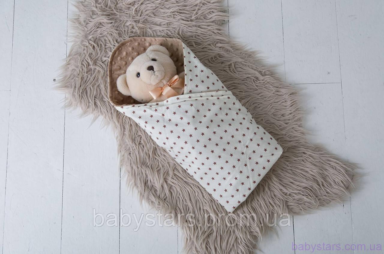 Плюшевый детский плед Minky с хлопком, цвет коричневый