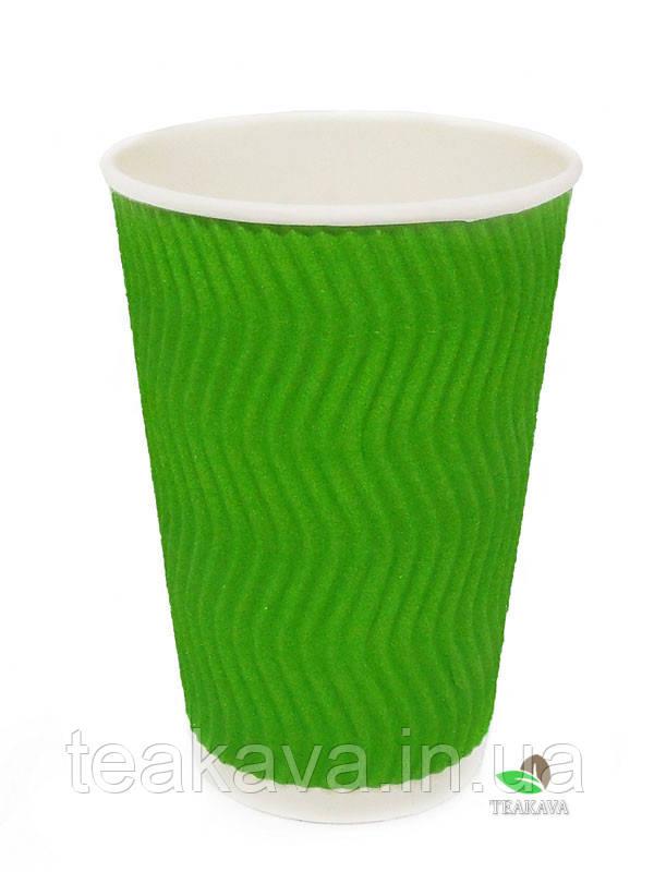 Гофростакан 400 мл зелёный, 15 шт