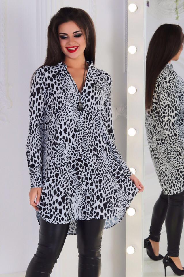 Удлинённая блузка с леопардовым прином (48-58)