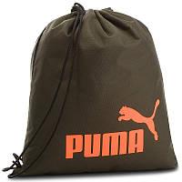 Рюкзак-мешок спортивный Puma Phase Gym Back 074943 05 (темно-зеленый, на тренировку, 16 литров, логотип пума)