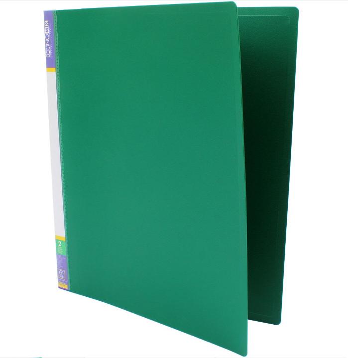 Папка пластиковая А4 Economix 2 кольца, зеленая