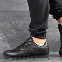 Мужские кожаные кроссовки, чёрные, Reebok (в наличии 44 р)
