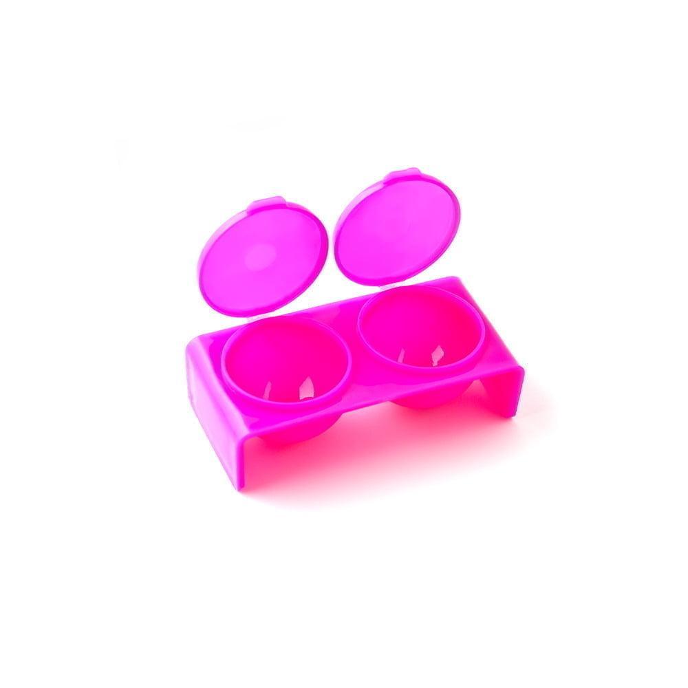 Палитра- контейнер для смешивания красок, двойная с крышкой, розовая