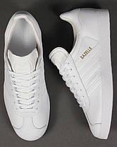 "✔️ Кроссовки Adidas Gazelle Leather Trainers ""White"" , фото 3"
