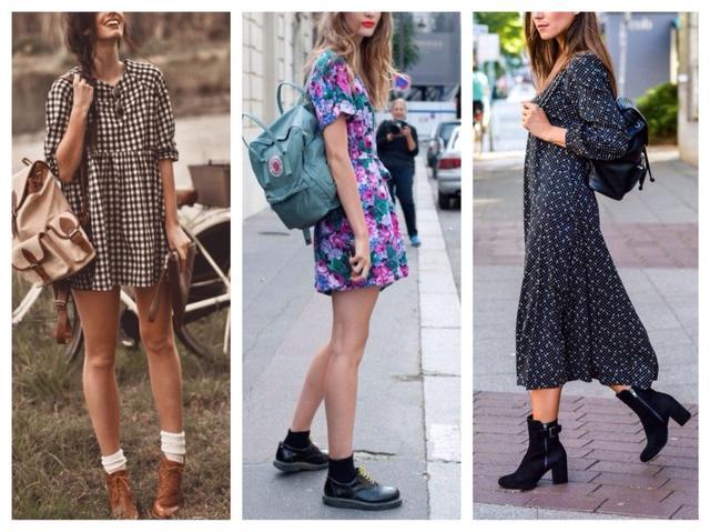 сочетание рюкзак с коктейльным платьем