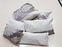 Комплект подушек Беж и коронки сирень , 6шт, фото 1