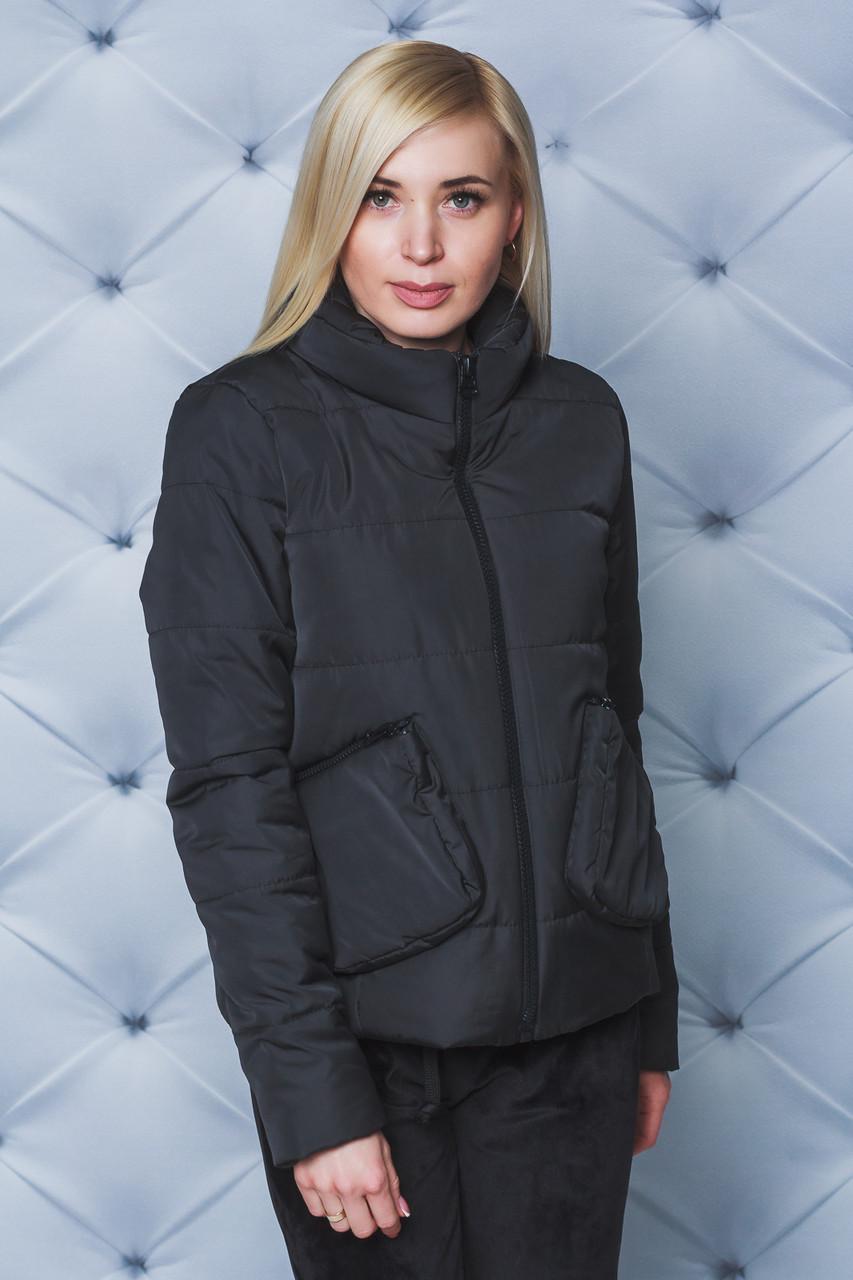 Куртка женская демисезон с накладными карманами черная