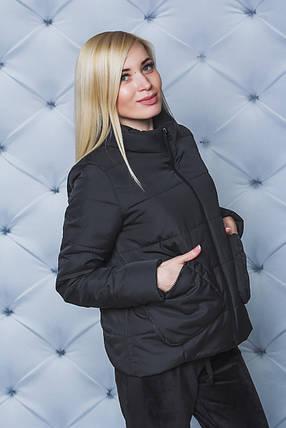 Куртка женская демисезон с накладными карманами черная, фото 2