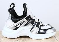 Кроссовки в стиле Louis Vuitton серые с черными вставками, фото 1