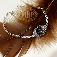Браслет с камнем Swarovski Eye (глаз), цвет Cooper