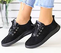 Красивые женские замшевые кеды кроссовки слипоны кожаные вставки на платформе черные RI78JH00KL