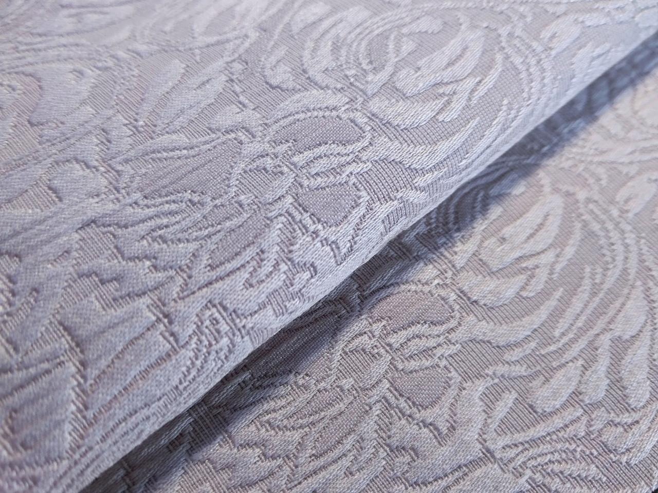 Жаккард коттоновый крупный орнамент, светло-серый