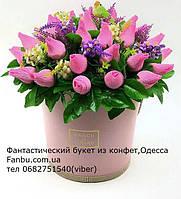 """Шикарный конфетный букет из бутонов роз """"Райский сад""""№41"""