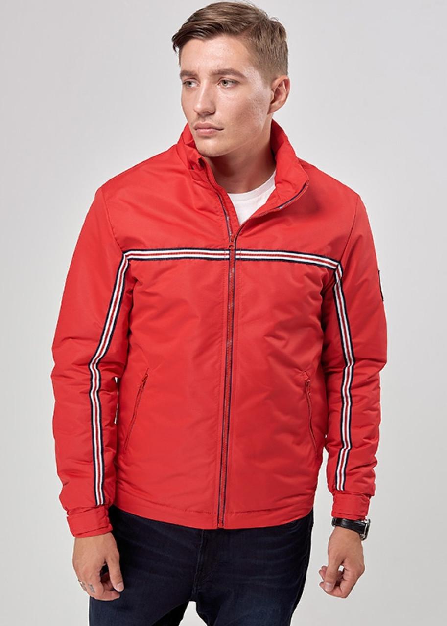 Ветровка мужская спортивная куртка на молнии с капюшоном, демисезонная красная