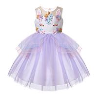 Нарядное платье для девочки Единорог (сирень) 100