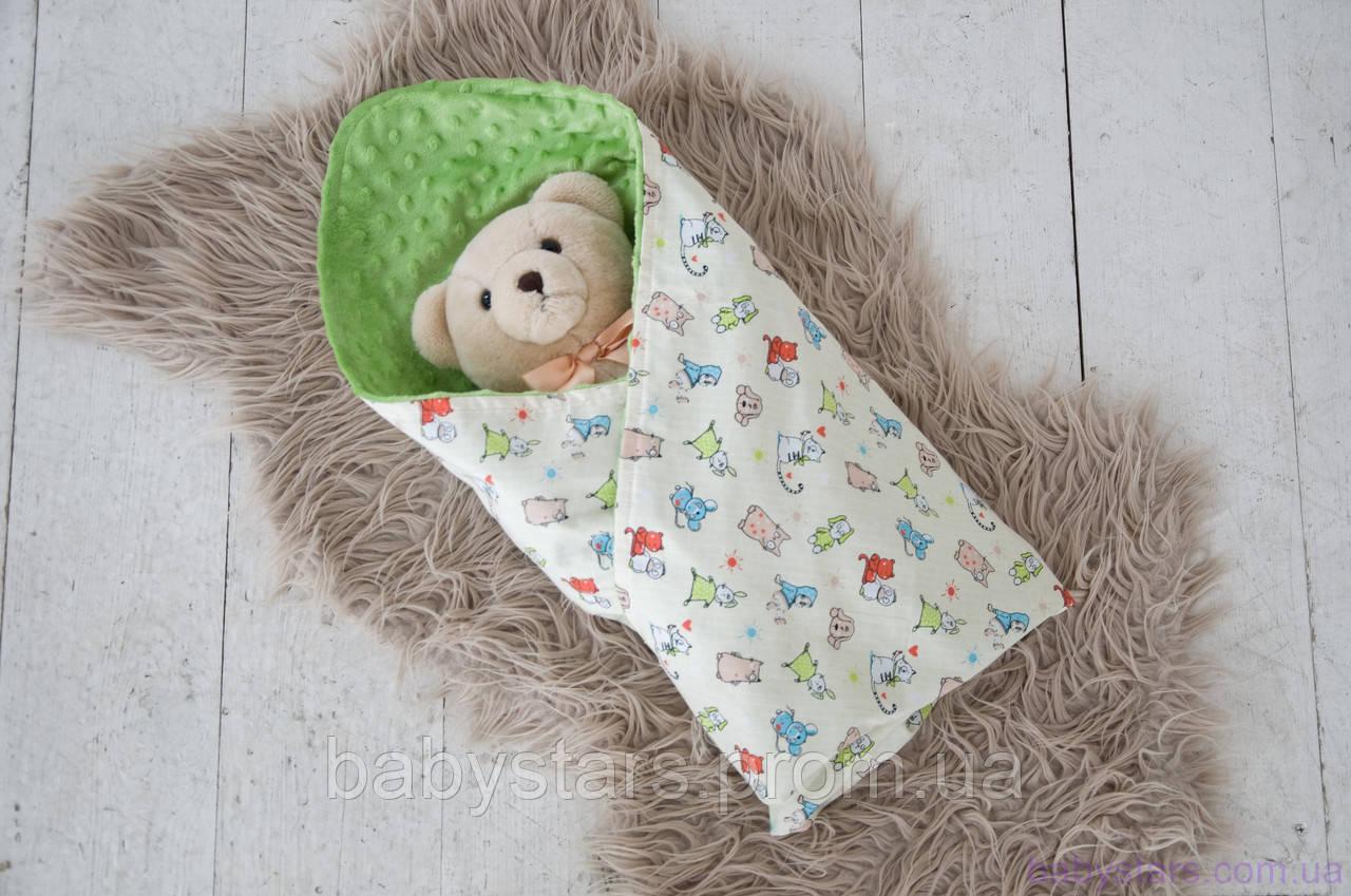 Плюшевый плед для новорожденного Minky с хлопком, цвет салатовый