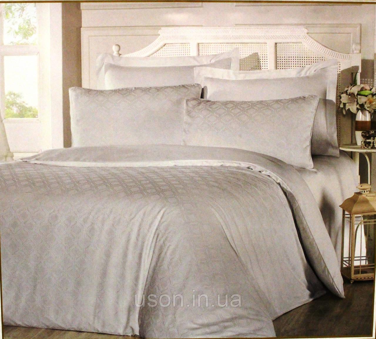 Комплект  постельного белья из  жаккарда евро размер ТМ ALTINBASAK Liya gri