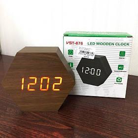 Электронные часы VST-876 Коричневые - Красная подсветка