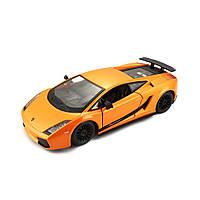 Модель авто Lamborghini Gallardo Superleggera 2007 зеленый, оранжевый металлик 1:24 BBurago 18-22108, фото 1