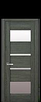 Дверное полотно Ибица Дуб графит со стеклом сатин