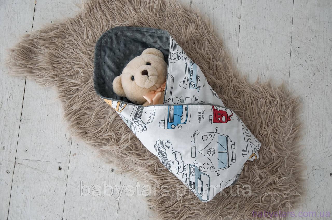 Детские плюшевые пледы Minky с хлопком, цвет серый