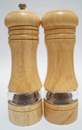 Дерев'яний спецовник Schtaiger SHG-1155 набір перцемолка і солонка світло-коричневий, фото 2