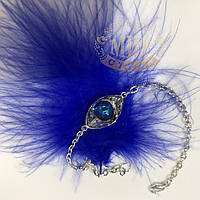 Браслет с камнем Swarovski Eye (глаз), цвет Sapphire