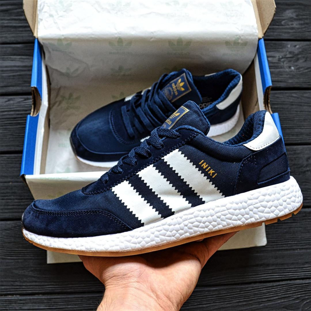 Мужские кроссовки Adidas Iniki Runner blue. Живое фото (Реплика ААА+)