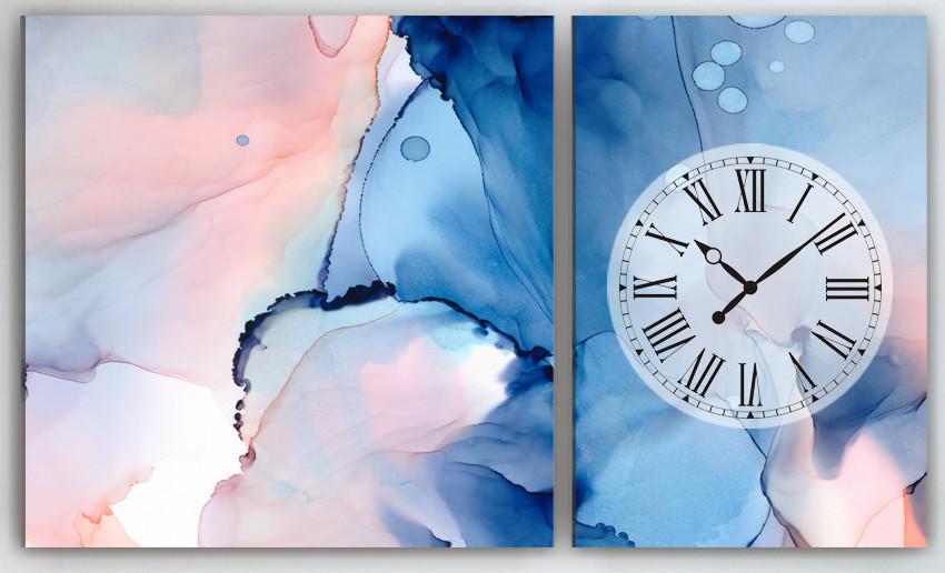 Модульная картина с часовым механизмом Акварель 100х60