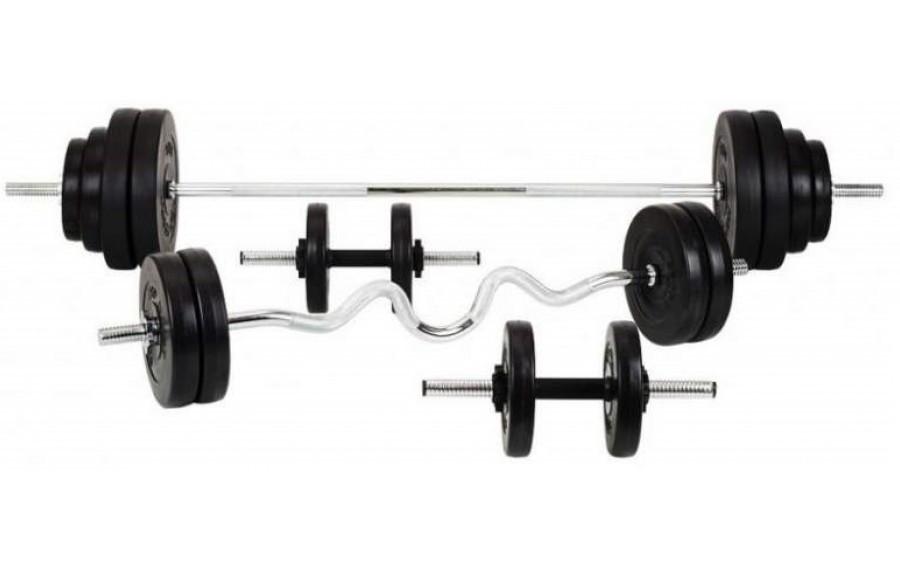 Силовой набор на 80 кг. 4 грифа + блины (диски с ABS)