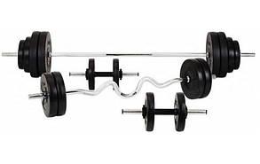 Силовий набір на 80 кг. 4 грифа + млинці (диски з ABS)