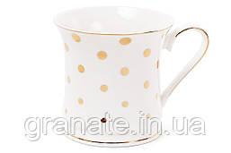 Кружка фарфоровая порцелянова 375мл, цвет - белый с золотом