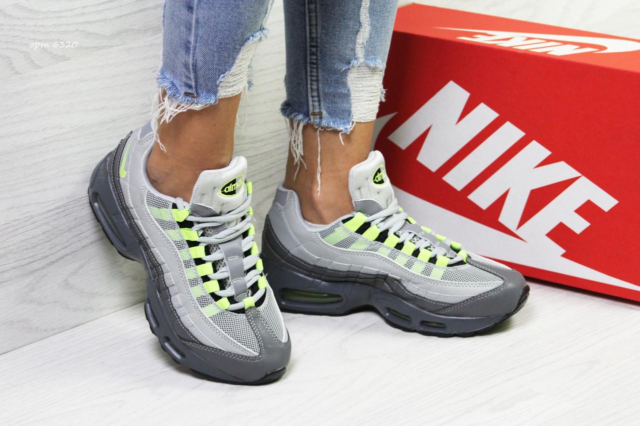 5d4666bb Женские кроссовки Nike Air Max 95 серые с салатовым - Mood-Nika в Киеве