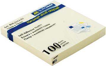 Блок для нотаток 76 х76мм, 100 аркушів, JOBMAX, жовтий