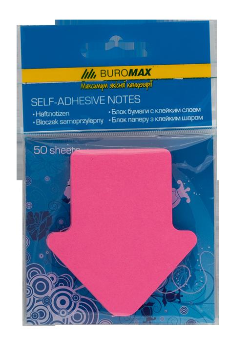"""Блок паперу для нотаток NEON """"Стрілка"""", 50 аркушів, асорті"""