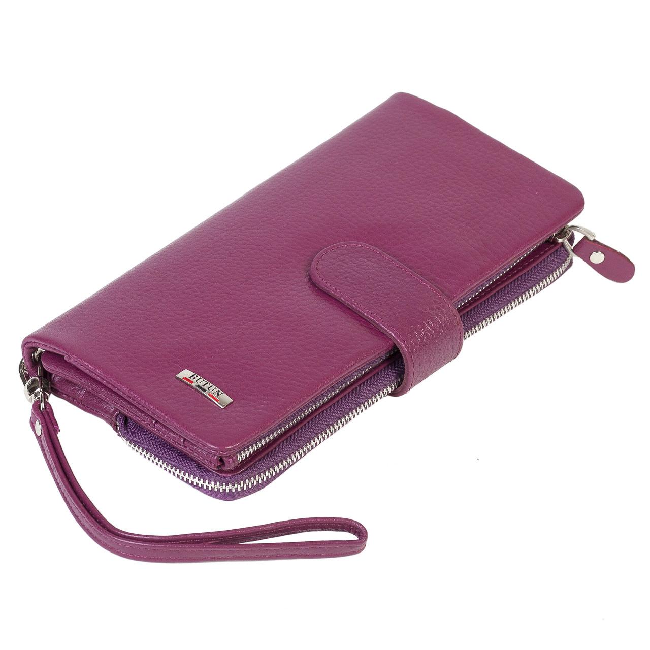 Женский кошелек клатч BUTUN 022-004-005 кожаный марсала