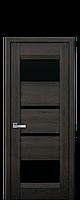 Дверное полотно Ибица Дуб шоколадный с черным стеклом