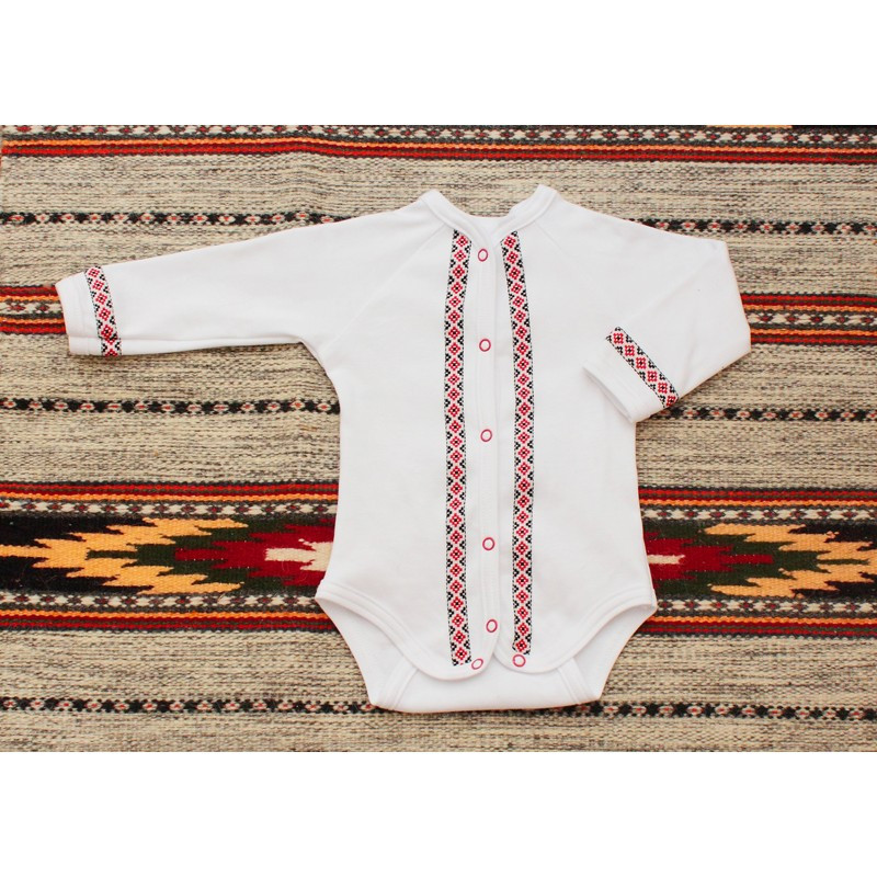Детский бодик вышиванка с длинным рукавом Орнамент красный