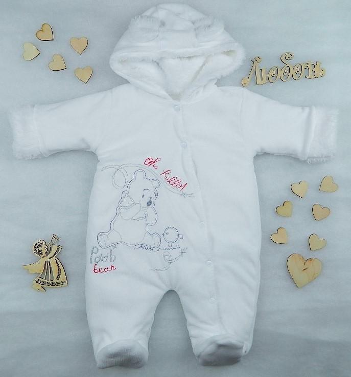 Велюр + махра, комбинезон белого цвета для новорожденного Винни Пух