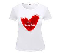 Футболка I LOVE ROCK & ROLL жіноча біла