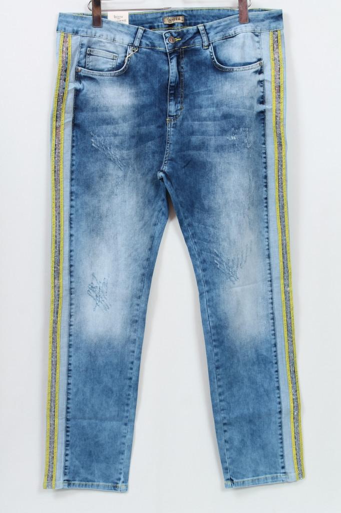 Турецкие джинсы с лампасами из страз, размеры 58-64